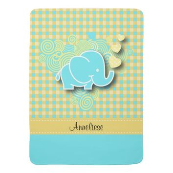 Plaid Checker Elephant Design | Yellow and Blue Baby Blanket