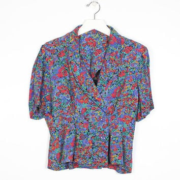Vintage Secretary Blouse 1980s Blouse Blue Red Green Floral Print V Neck Wrap Double Breasted Peplum Skirt Cropped Collared Shirt 80s S M