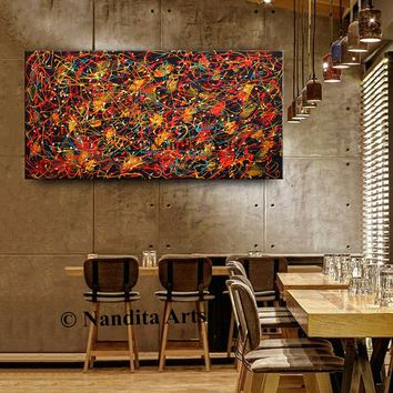 """Painting Jackson Pollock Red Large Wall Art Modern Abstract Canvas Art, 48"""" Original Painting, Home or Office Decor by Nandita Albright"""