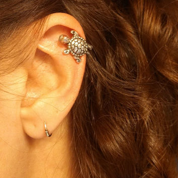 Silver Turtle Cartliage Earring Tragus Helix Piercing
