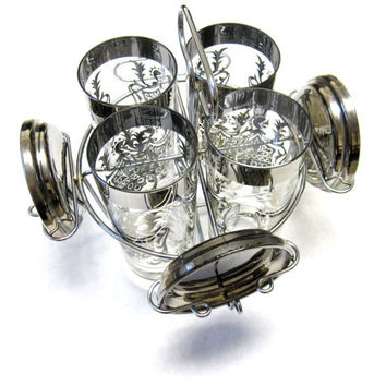 Vintage Bar Ware Glasses Kimiko Silver Rimmed Set Chrome Caddy Coasters