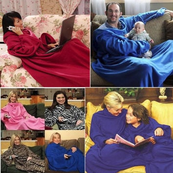 Creative Lazy Blanket Home Winter Warm Fleece Snuggie Blanket Robe Cloak With Sleeves for Family Holiday Sofa/Bed/Plane Travel [9695339919]