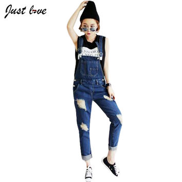 2016 New Korean Streetwear Holes Loose Denim Overalls Rompers Womens Jumpsuit Casual Girls Long Suspenders Jeans Ladies Trousers