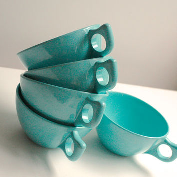 Vintage Aqua Melmac Cups by Branchell, Set of Five