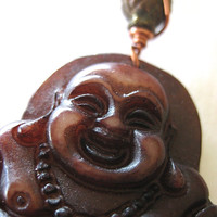 Handmade Key Chain Large Laughing Buddha Serpentine Brown Fall Accessory Boho Buddhist