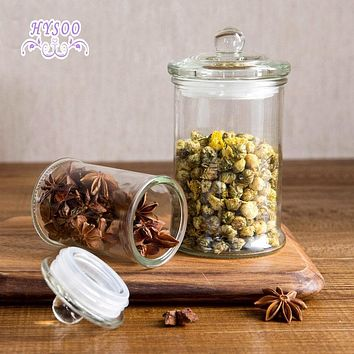 Transparent glass sealed cans large tea cans storage tank kitchen food tea tea moisture storage tank HYSOO