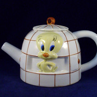 White Tweety Bird Cage Tea Pot 1997