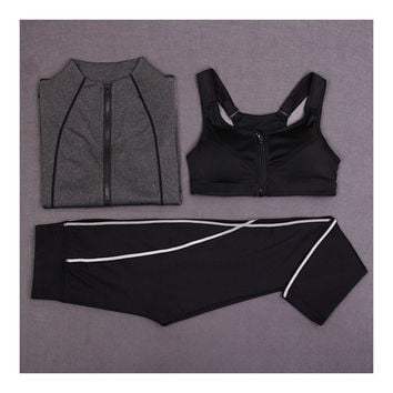 Woman Running Sports Fitness Yoga Clothes 3pcs Set    dark grey   S