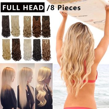 18 Clips 8 Pieces Per Set Curly Clip In Hair Extensions