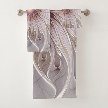 Floral Fantasy, Abstract Modern Pastel Flower Bath Towel Set