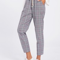 Drawstring Detail Plaid Peg Pants