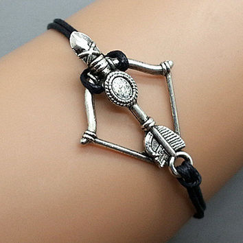 catching fire Arrow bracelet Black wax cord Antique Silver Cute Personalized Charm Jewelry wedding gift bracelets