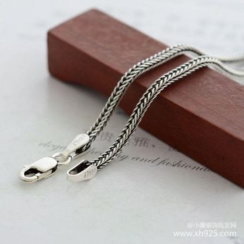 925 sterling silver necklace female thick 1.6 mm foxtail chain The snake chain length 75 cm