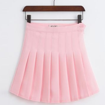 High Waist Solid Pleated Mini Skirts