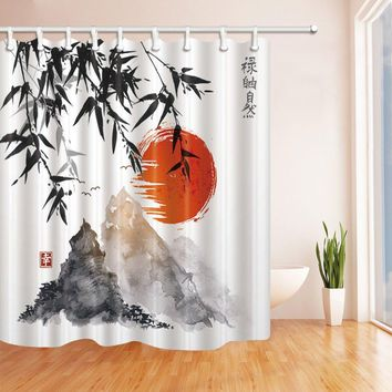 Bamboo Trees Sun and Mountains Bath Curtain, Polyester Fabric Waterproof Shower Curtains, Shower Curtain Hooks Included