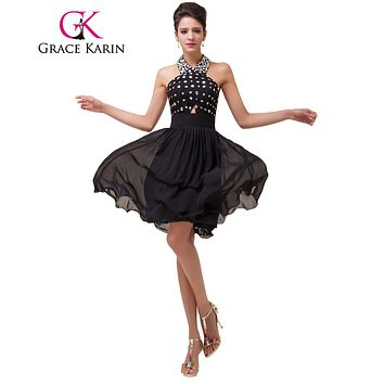 Grace Karin Black Cocktail Dress Sexy Robe De Cocktail 2017 Halter Beads Formal Dress Vestidos Knee length Chiffon Party Gown