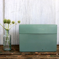 green industrial file box // metal recipe box // 3 x 5 card file // vintage office