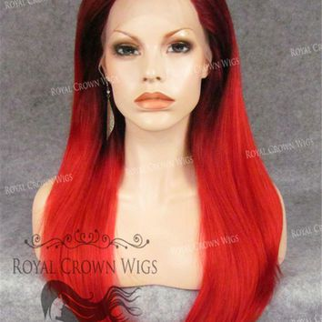 """24"""" Heat Safe Synthetic Straight Texture Lace Front """"Aphrodite"""" in Red Ombre"""
