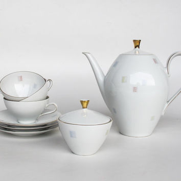 Midcentury Tea Set  / 50's German Porcelain / Teapot Kettle / Sugar Bowl / Mug