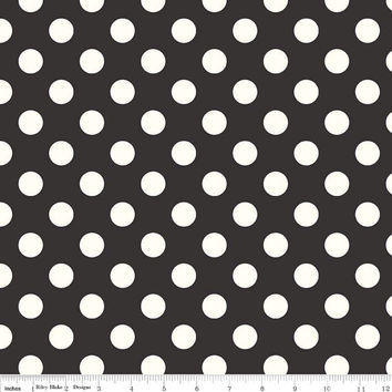 Black and Cream Polka Dot Quilting Cotton Fabric by Riley Blake Designs, 1/2 Yard, more yardage available