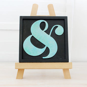 Wood Ampersand Wall/Desk Art, Letterpress Style, Home Decor