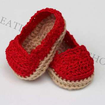 Red Baby & Toddler Girl Espadrilles (Crochet baby shoes, Gender reveal photos, Baby shower gift, Summer shoes, First birthday)