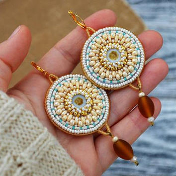 Cream gold round earrings Disk dangle earrings Tribal beaded earrings Bead Embroidered earrings Large ethnic earrings Unique gifts for women