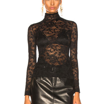 Dolce & Gabbana Lace Turtleneck in Black | FWRD