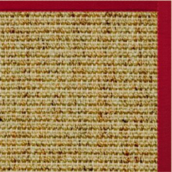 Sustainable Lifestyles Spice Sisal Rug with Poppy Red Cotton Border