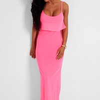 Pink Power Neon Frill Overlay Maxi Dress | Pink Boutique