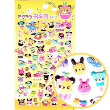 Animals and Desserts Shaped Food Themed Puffy Stickers for Scrapbooking