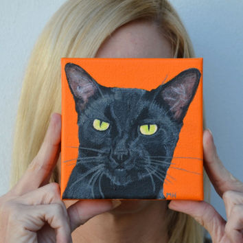 Custom Cat portrait Cat portrait  Custom cat portrait Black cat painting Cat art pet portrait  cat art work Paintings from Photo's