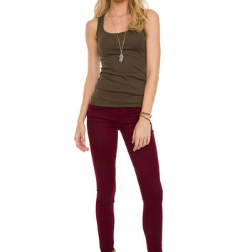 Claudia Skinny Butt Lifter Jeans - Burgundy
