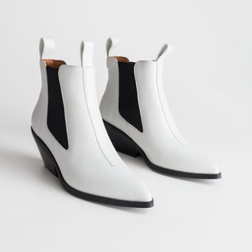Low Leather Cowboy Boots - White - Ankleboots - & Other Stories