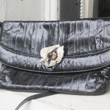 Eel Skin Handbag, Black Leather Clutch, Shiny Black Purse