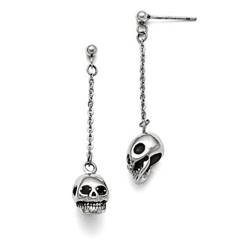 Men's Stainless Steel Polished/Antiqued Skull Post Dangle Earrings