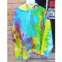 50% off 2XL Tie Dye Zipper Hoodie Jacket Plus Size