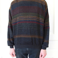 80s Striped Color Block Sweater / Men's Jumper