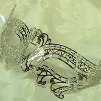Silver Double Swan Masquerade Laser Cut Mask with Rhinestones