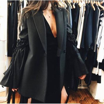 2017 Spring New Arrival Women Fashion Casual OL Style Long Coat Removable Flare Sleeve Jacket