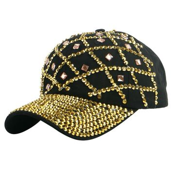 Trendy Winter Jacket high quality new style gold color rhinestone net design spring summer women girl decorate hip hop snapback baseball cap hats AT_92_12