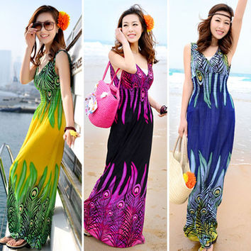 New summer new deep v-neck peacock bohemia long beach dress sexy casual maxi dress