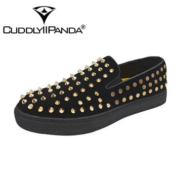 CUDDLYIIPANDA New Brand Fashion Men Punk Studded Rivets Sneakers Spike Suede Pointy Loafers Casual Moccasins Dress Shoes