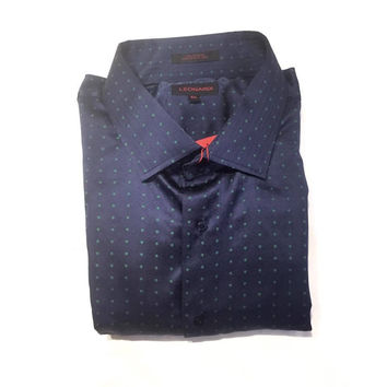 "Leonardi ''Spreader Polka Dot"" Navy Button Up Shirt"