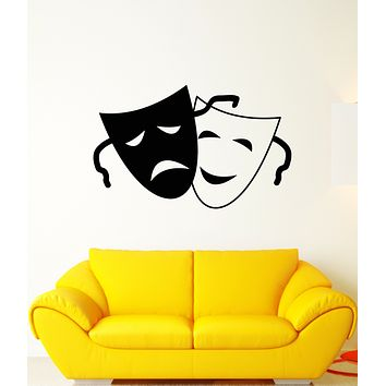 Vinyl Wall Decal Comedy And Tragedy Theater Face Masks Art Stickers (3312ig)