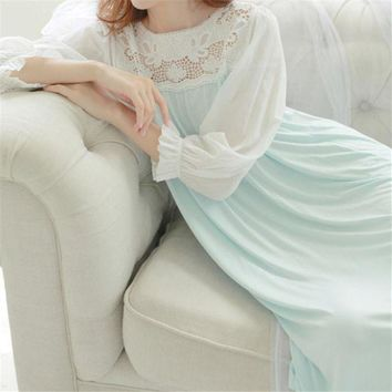 PEAPONFI New Arrivals Soft Sleepwear Lace Home Dress Comfortable Sexy Nightgowns Sleepshirts Solid Sleep & Lounge Nightgown Female #H92