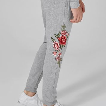 Gray Rose Embroidered Joggers | Topman