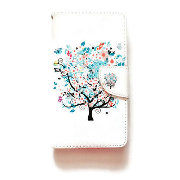 LG G4 Wallet Tree In Bloom Case Floral Pattern For LG G4 Romantic LG G4 Wallet Girly Cute L695