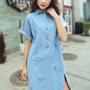Light Blue Lapel Folded Sleeve Ripped Denim Shirt Dress with Slit