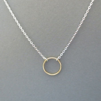 Two, tone, ring, necklace, gold filled, circle, on, sterling silver, chain, simple, karma, necklace, halo, open, ring, circle, jewelry
